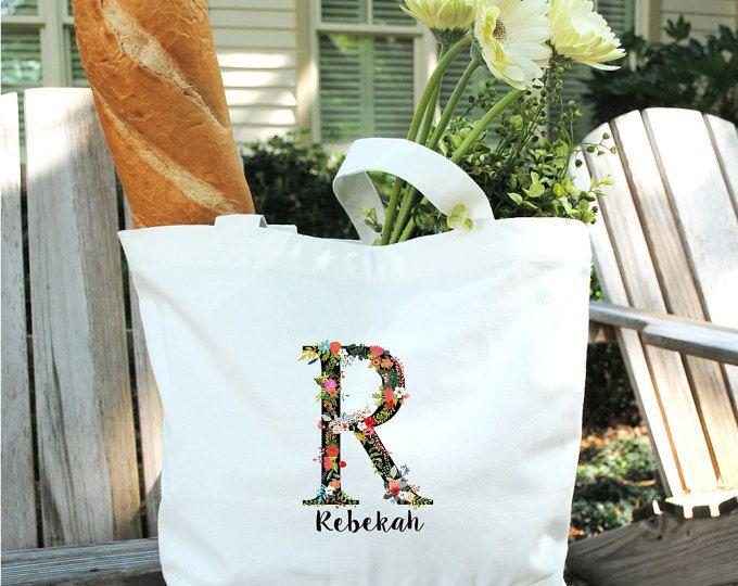 Flor inicial algodón bolso-Dama de honor boda regalos fiesta favores de la boda regalos-Monogram bolsa grande de lienzo