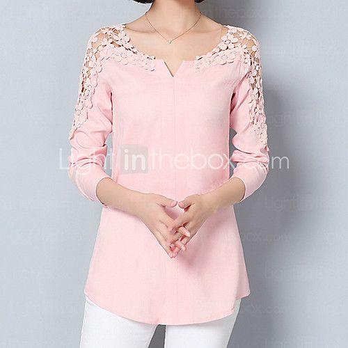 Feminino Camisa Social Para Noite Formal Trabalho Sensual Moda de Rua Sofisticado Todas as Estações Primavera,SólidoAzul Rosa Branco de 2017 por R$42.55