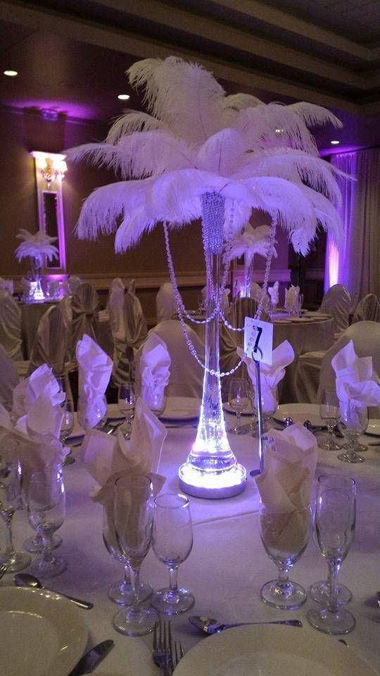 Acrylic Garland Vase Ostrich Feather Centerpiece For Weddings