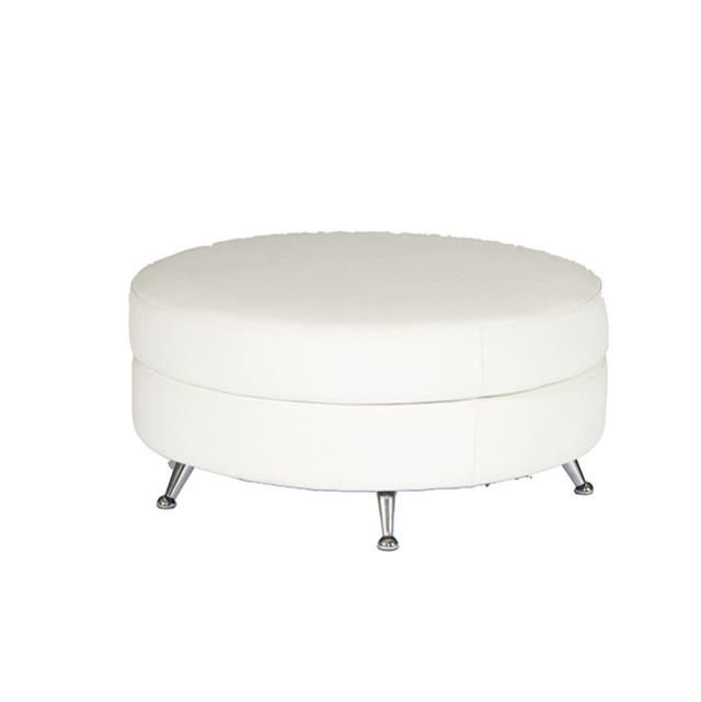 Party Reflections Lounge Furniture White Leather Sectional Round Ottoman Prexperience Partyreflection White Leather Ottoman Leather Ottoman Rental Furniture