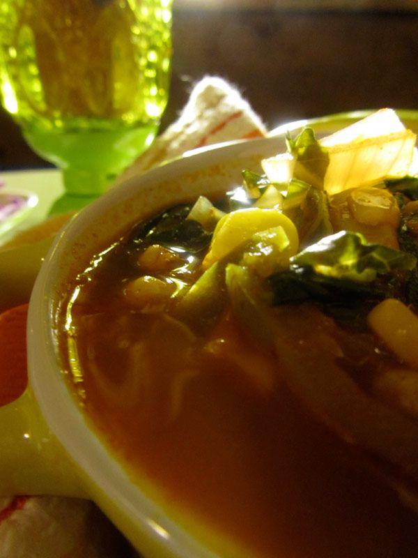 Vegan Tortilla Soup with homemade tortilla strips