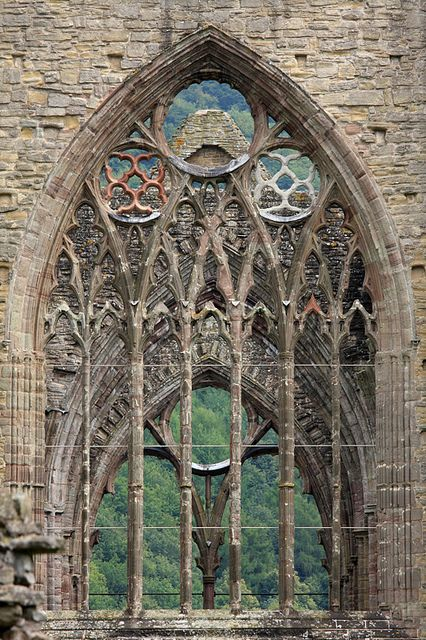 The ruins of Tintern Abbey in South Wales, the result of Henry VIII's dissolution of the monasteries, which brought 400 years of monastic life to an abrupt end in the 1530s. #Gothic architectural detail (