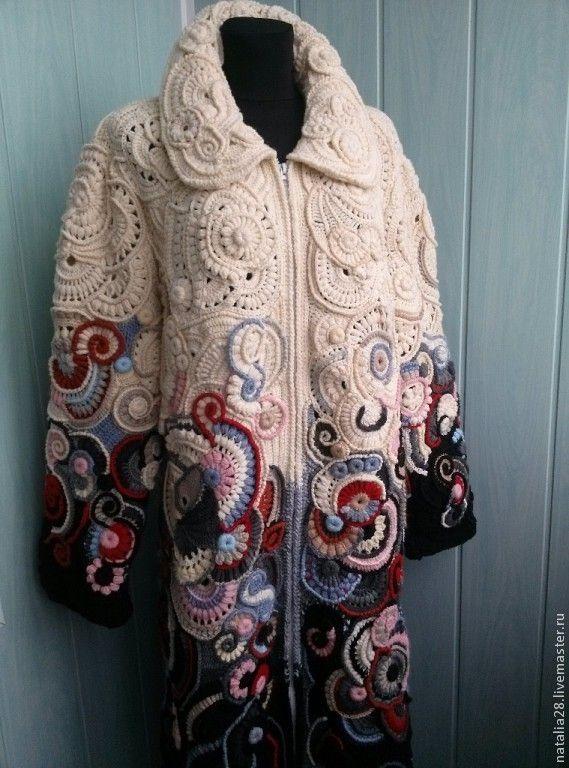 Пальто крючком в технике Фриформ - пальто женское,пальто вязаное,пальто крючком