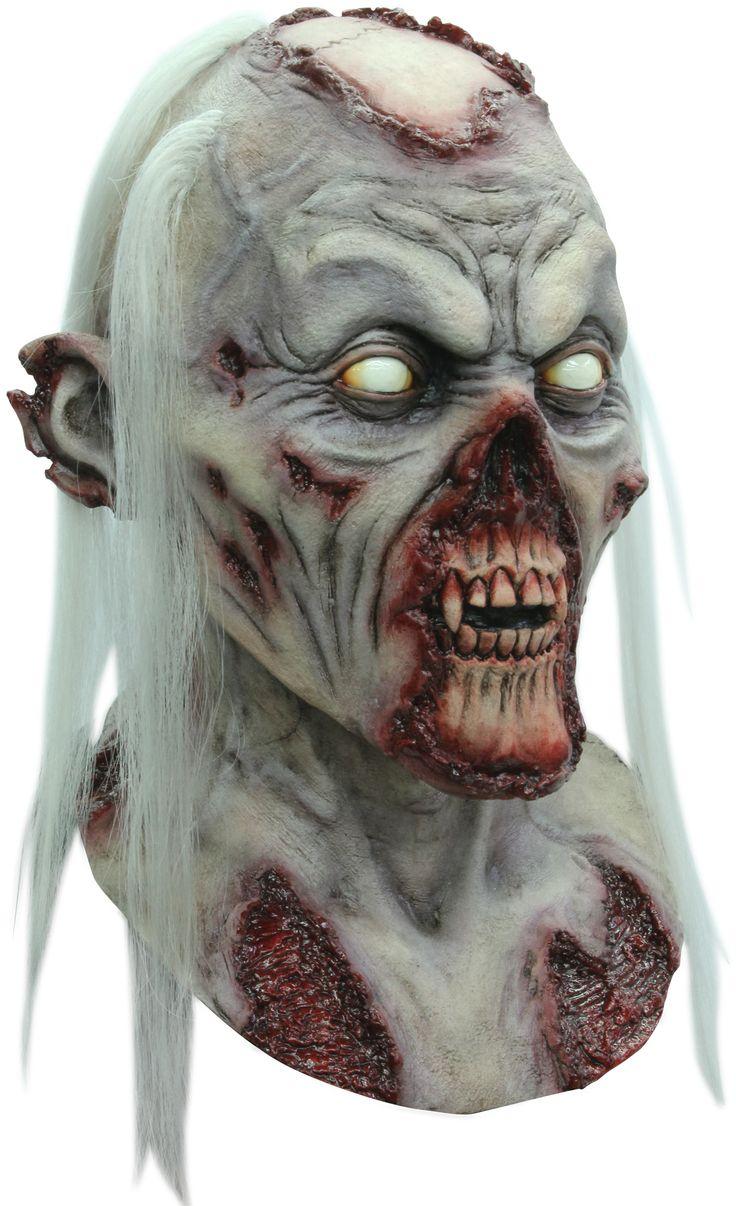 Maschera da morto vivente, realizzata a mano con ciocche di capelli sintetici.