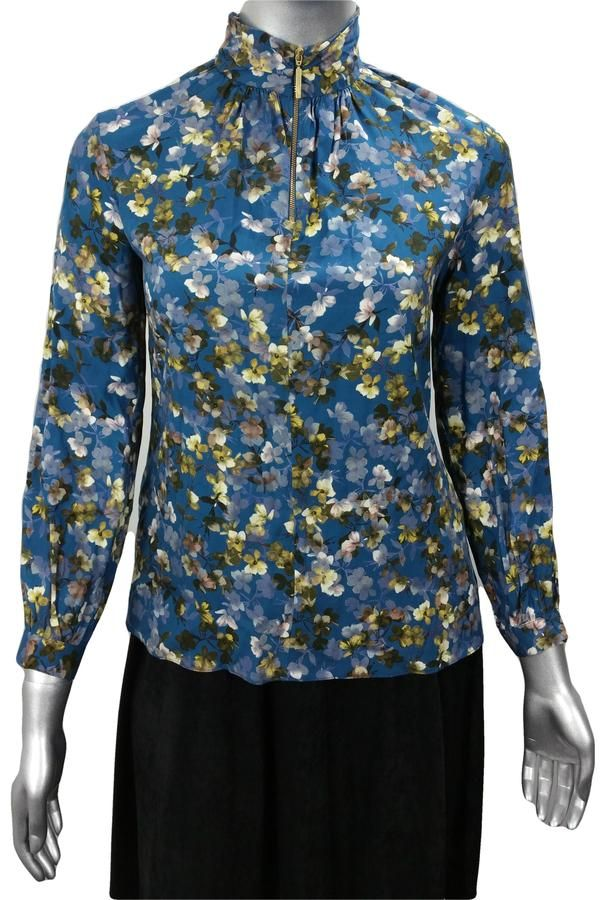 Blue blossom print floral long sleeve work blouse