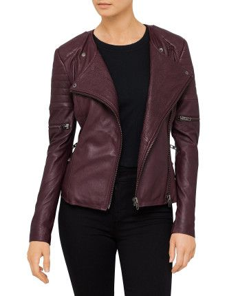 Greenwich Street Motor Jacket #davidjones #fashion #burgundy #trend