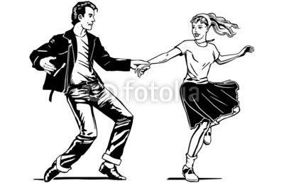 Wektor: Retro Swing Dancing