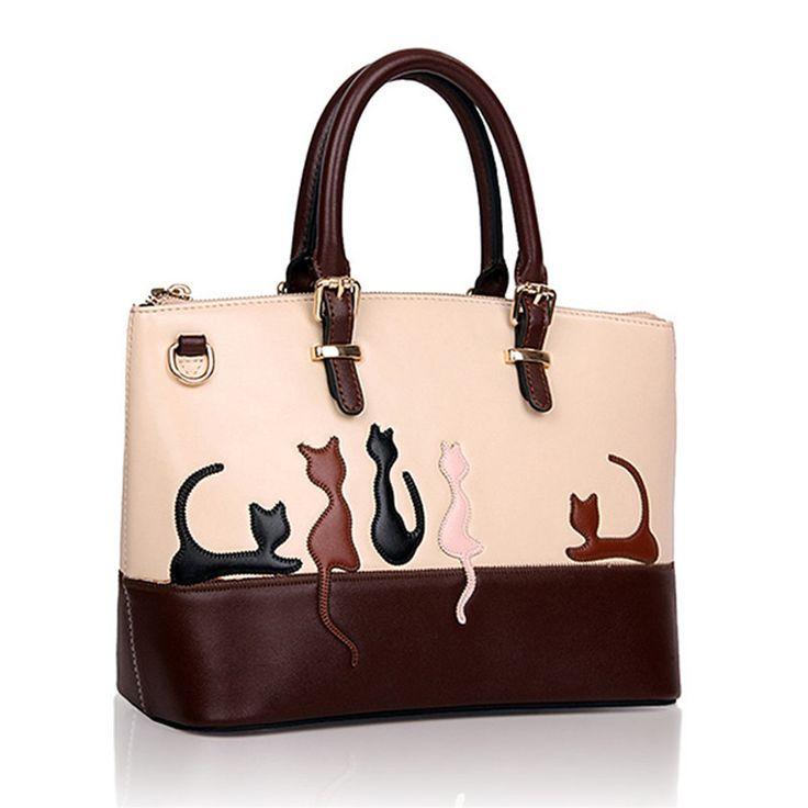 Fashion Women Handbags Cat Rabbit Pattern PU Leather Shoulder Bag Messenger Crossbody Casual Tote Multifunction Large Capacity