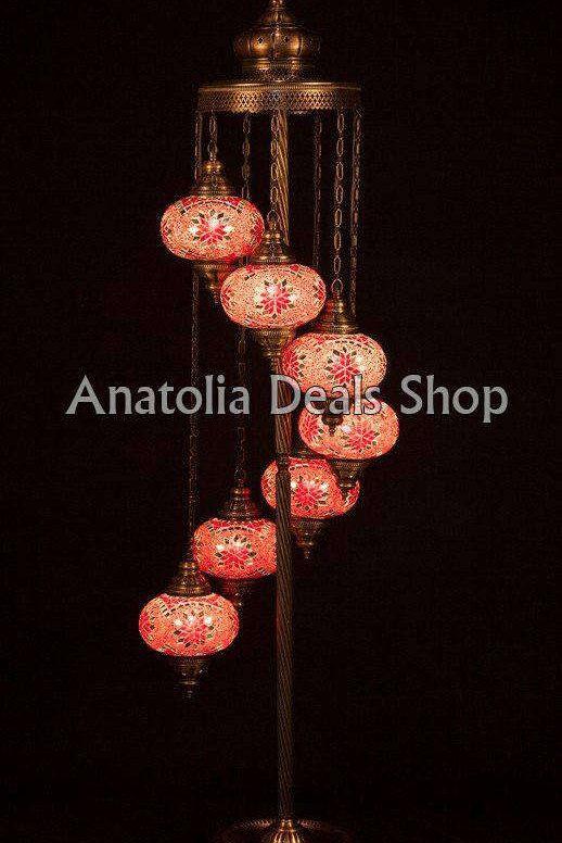 Turkish lamps and lanterns, Moroccan decor, Mosaic table lamp, Hanging lantern chandelier @HandmadeForum #handmade