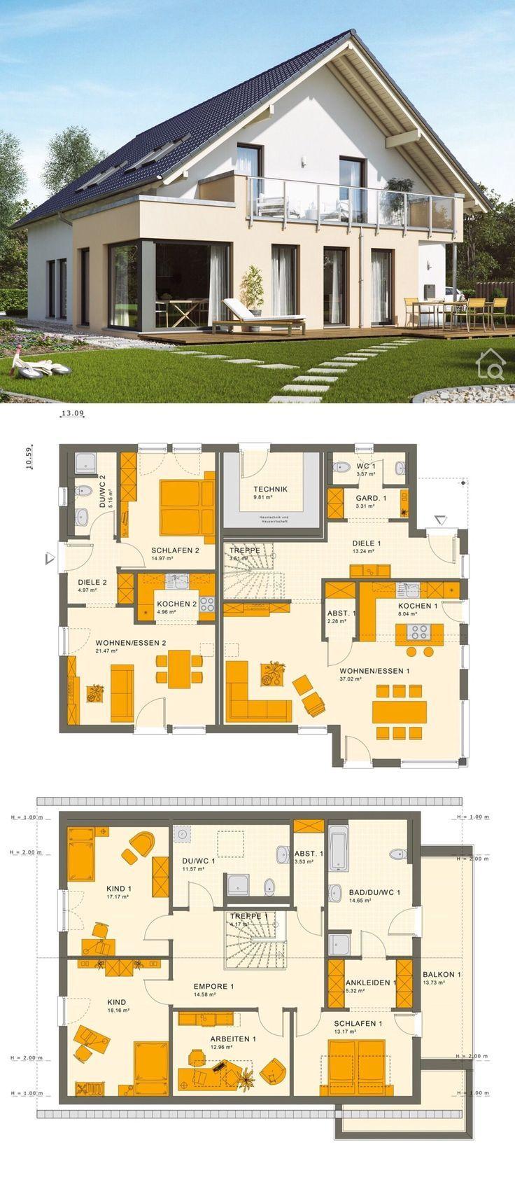 Maison individuelle classique avec une architecture de mamie et une toiture en selle, …