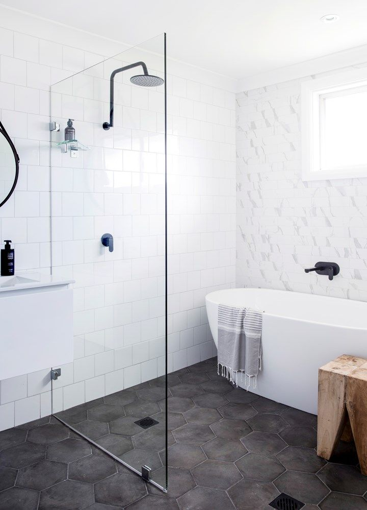Open shower + charcoal hex floor tile                                                                                                                                                                                 More