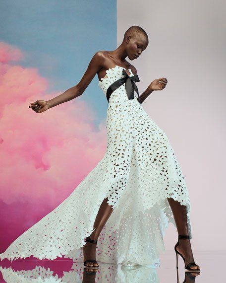 a26f7e417e3d Shoe Trends at Bergdorf Goodman. Strapless Eyelet-Lace Evening Gown w/ Satin  Bow