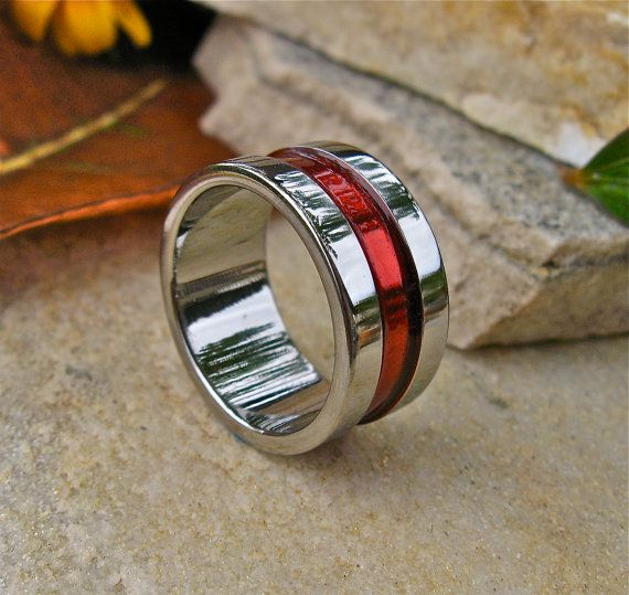firefighters thin red line titanium wedding band promise ring wide ring - Firefighter Wedding Rings