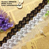 Бесплатная доставка QW00036 5 ярды 5.5 см белые цветы волна вышивка вышитые водорастворимая хлопчатобумажной ткани отделкой