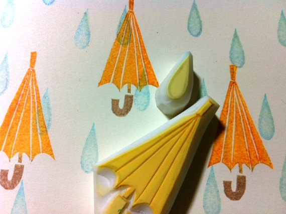 umbrella - hand carved - handmade - rubber stamp - rain drop -