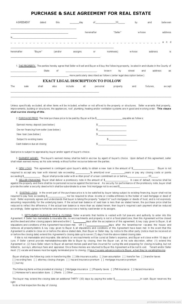sample printable sales contract for buying subject 2 form