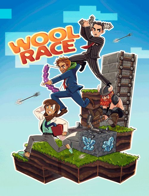 monkeyscandance:  So I have been catching up with Yogscast series today and stumbled overWool Race 2 with Hat Films and Simonand I just had to do a little tribute fanart.