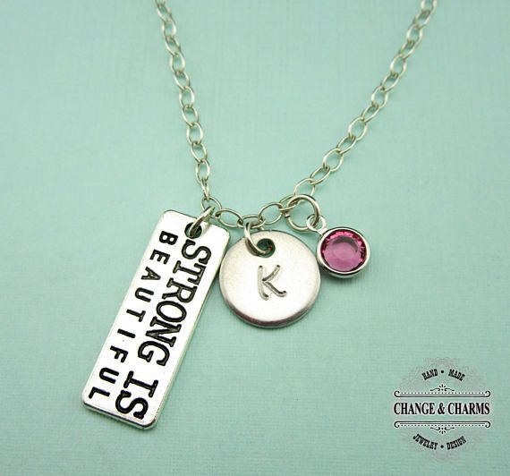 55 best custom sterling silver charm necklaces images on pinterest custom strong is beautiful charm necklace strong is beautiful charm necklace monogram sterling silver custom gift personalized cst007 aloadofball Images