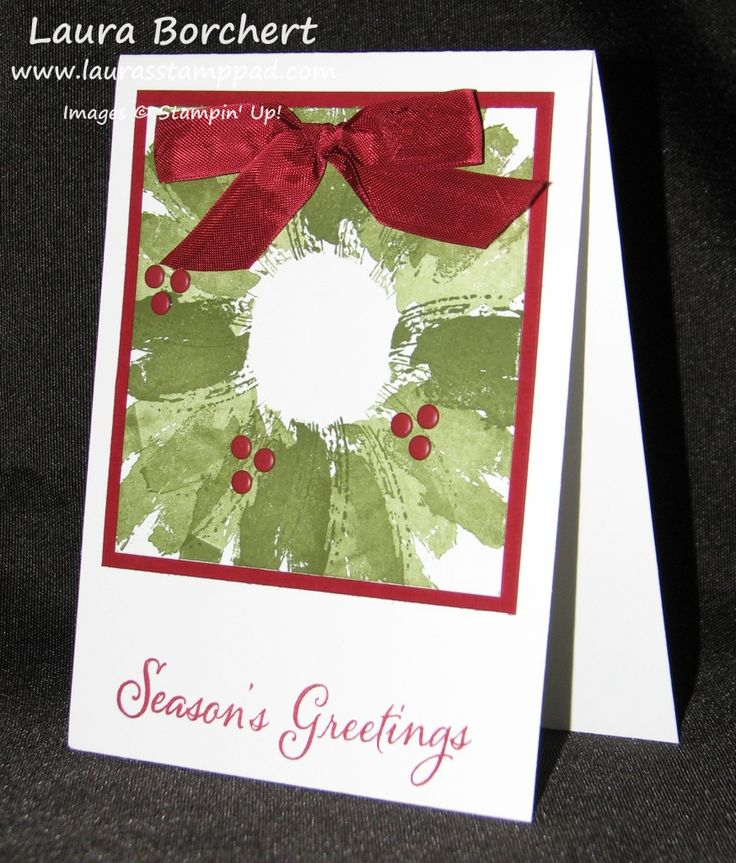 Holiday Cards with the Work of Art Stamp Set Work of Art Stampin' Up Stamp Set, Holly Wreath, Cherry Cobbler Seam Binding, Candy Dots, Colored Rhinestones, Cherry Cobbler Dazzling Details, Bright & Beautiful Stamp Set, Tutorial, Christmas Tree www.LaurasStampPad.com
