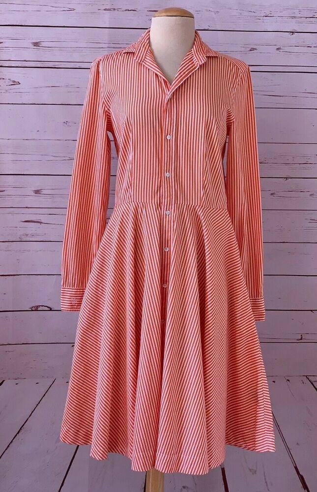 89f4017dd18 POLO RALPH LAUREN Womens Size 6 Dori Long Sleeve Stripe Shirt Dress Orange   PoloRalphLauren  ShirtDress