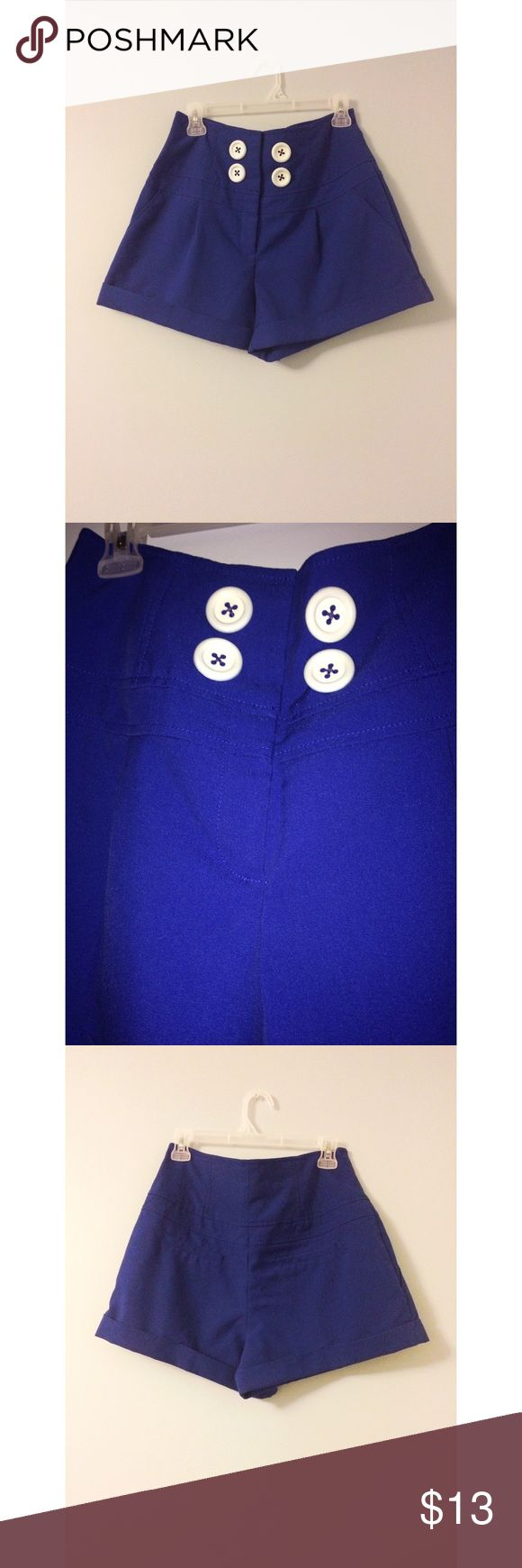 High Waisted Cobalt Blue Pants w/ White Buttons I bought these shorts because of how cute they are but I can't seem to find the right shirt to go with them. Worn once, in good condition. Zip fly with four top buttons. Two front packets to stash your stuff. Buttons and everything intact with patch pockets in the back. Forever 21 Shorts