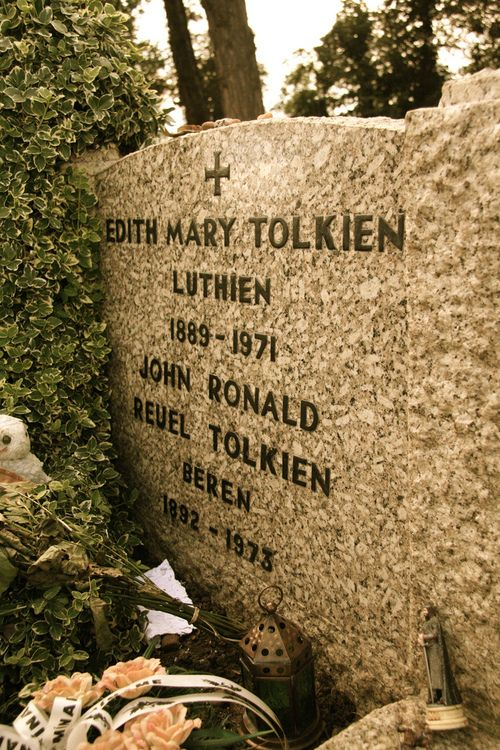 The gravestone of J.R.R. Tolkien and his wife Edith, in Wolvercote Cemetery, Oxford, UK. The names engraved under their own were chosen by John based on characters from his Middle-earth legendarium. Luthien was the most beautiful of the children of Iluvatar and forsook her immortality for her love of the mortal warrior Beren.  John and Edith Tolkien were married for over 50 years.