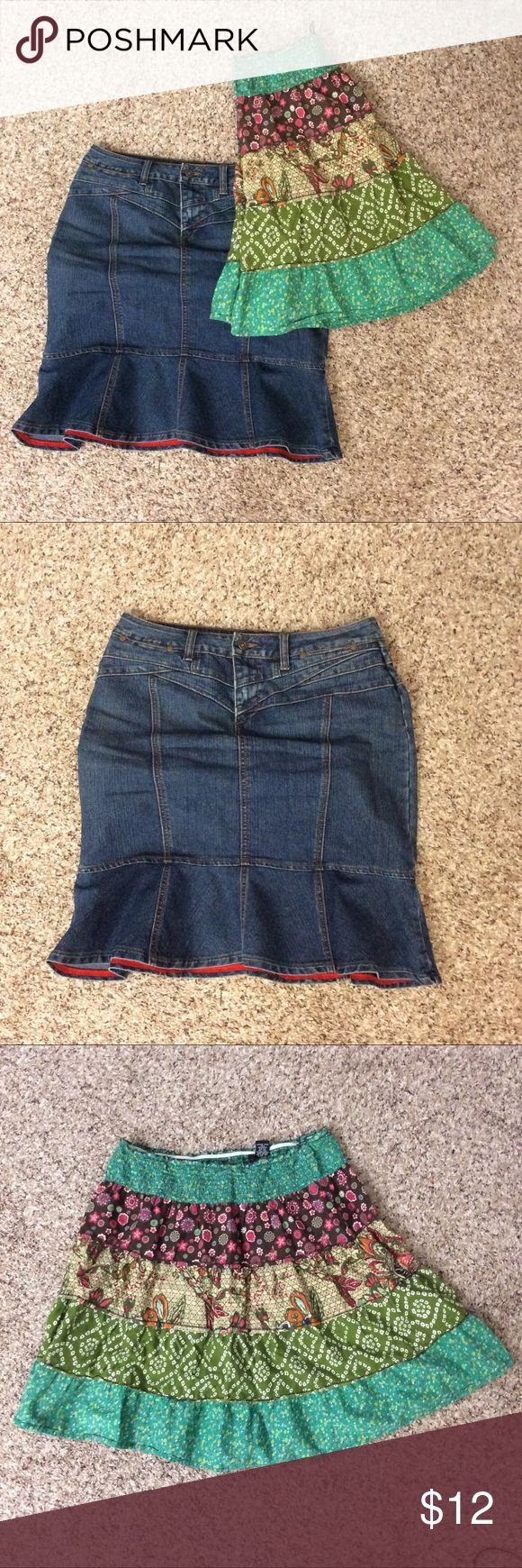Tulip tiered boho hippie gypsy skirt bundle 6 L Denim trumpet ruffle skirt is stretchy and from Cato, size 6. Seems to run a little big. Tiered skirt is size large from Fire Los Angeles, with an elastic waist. I'm 5'4 and they both hit right at my knee. Cato Skirts Midi