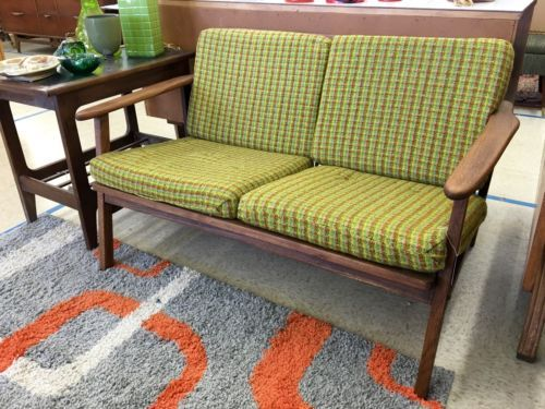 """Mid Century Modern Loveseat On Sale  45"""" Wide x 27"""" Deep x 36.5"""" High   Was $285 Sale Price $186  Kim's Hunt Mid Century  Dealer #21  Top Drawer Antiques and Consignment 10622 E. Northwest"""