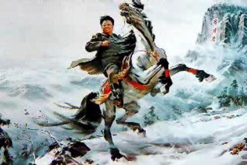 Kim Jong Il riding a horse on a mountain