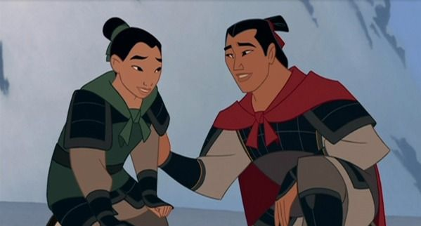 Saddest Disney Moments - In Mulan 2, Shang lets go of the rope that he and Mulan are hanging on to on a bridge over a canyon in order to save Mulan. His sacrifice is great - though they are no longer lovers.