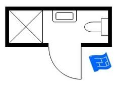 3ft x 9ft small bathroom floor plan (long and thin) with shower.