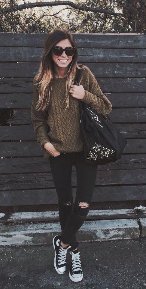 Chocolate brown sweater, black skinny jeans, black converse tennies & shoulder bag