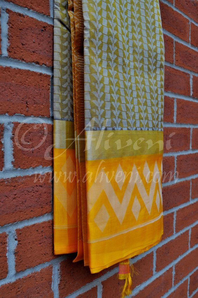 Cement Grey Kuppadam Saree with White weave all over & Yellow/Silver Ikat Border