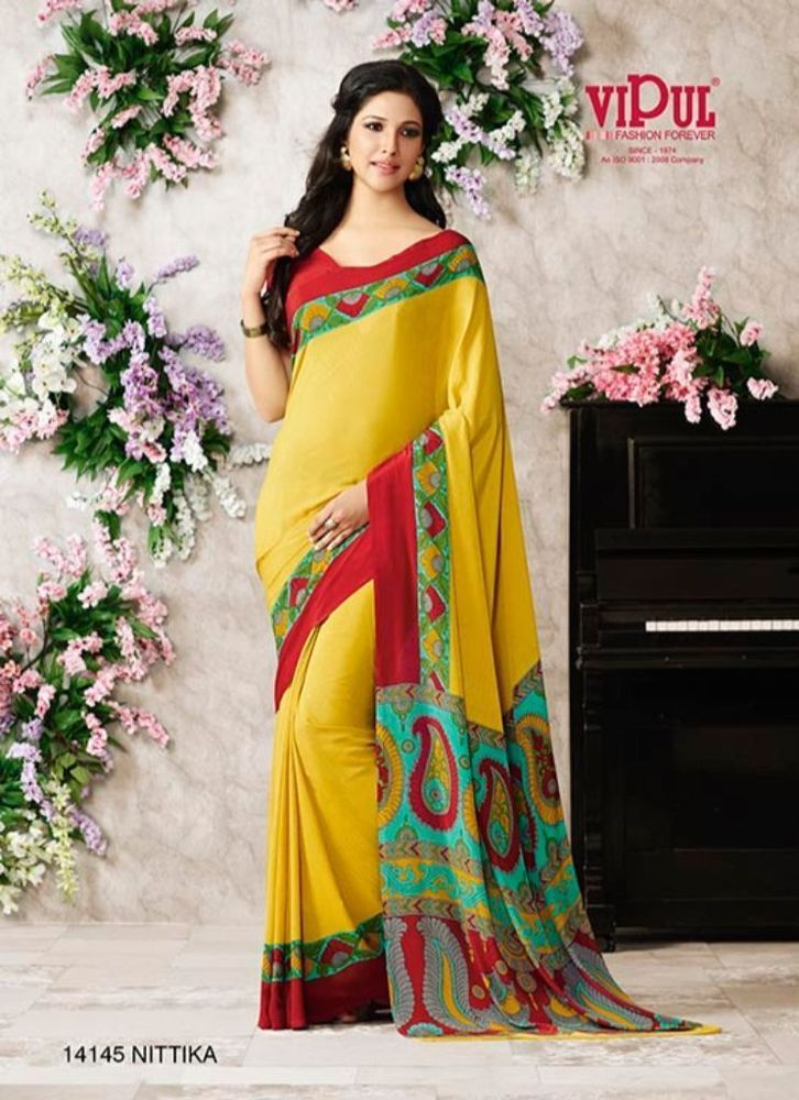 Yellow  Printed Crepe Silk Saree With Printed Blouse. 14145