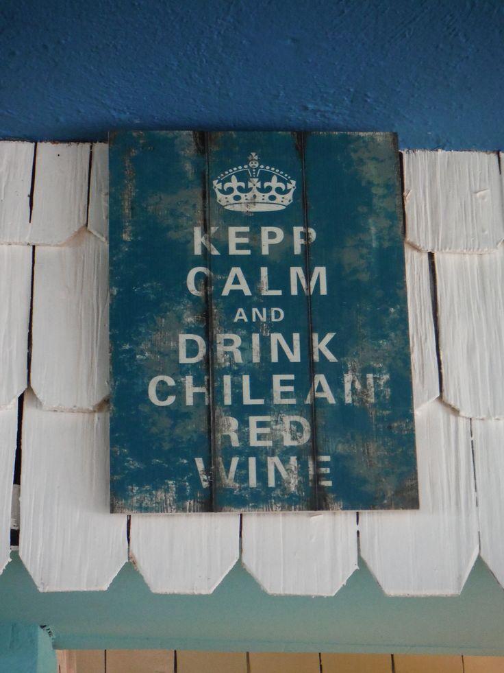 Sign at the hotel bar, Ancud