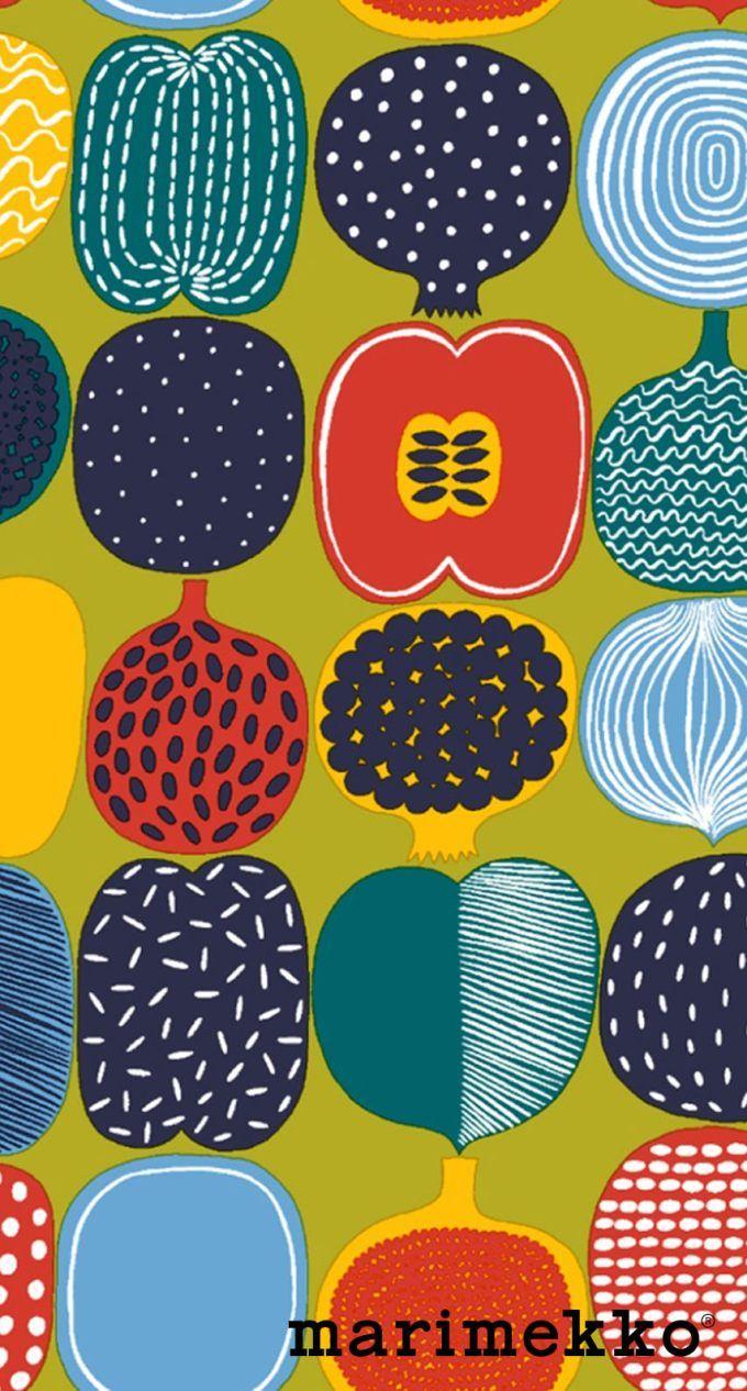 マリメッコ/フルーツ2 iPhone壁紙 Wallpaper Backgrounds iPhone6/6S and Plus Marimekko iPhone Wallpaper
