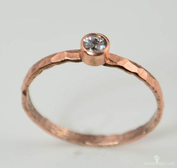 Copper CZ Diamond Ring,Classic Size, Stackable Rings