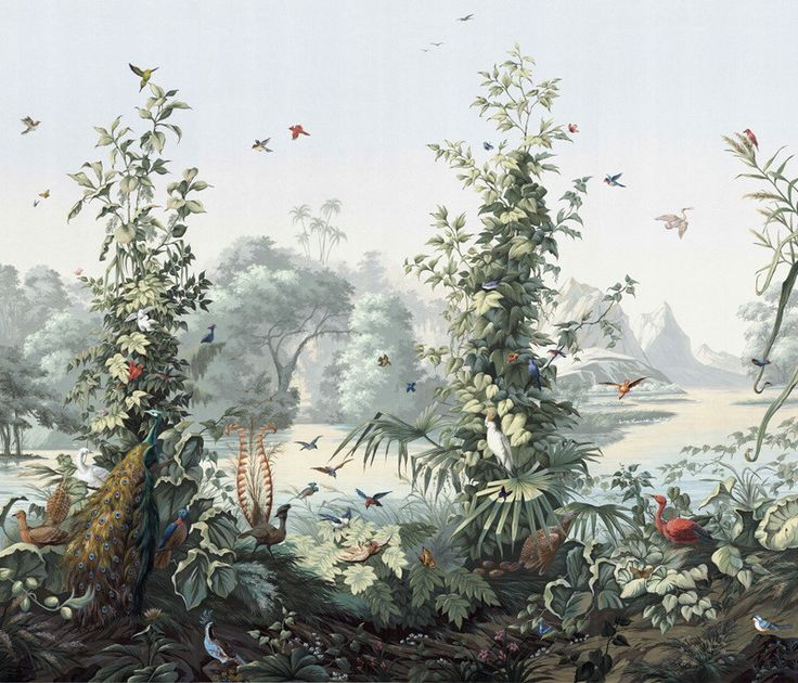 1695 best vintage wallpaper images on pinterest vintage for Chinoiserie wallpaper mural