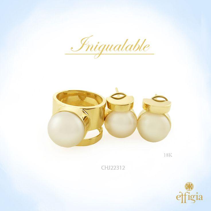 Effigia presenta este precioso juego de oro amarillo de 18k y perla. ¡Brilla con Effigia! #Perla #Joyas