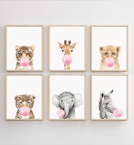 Animal Bubble Gum Wall Art Set Of 6 Safari Nursery Animal Animals Art Bubble Decor Girl Gu Nursery Decor Prints Safari Nursery Prints Nursery Decor Girl