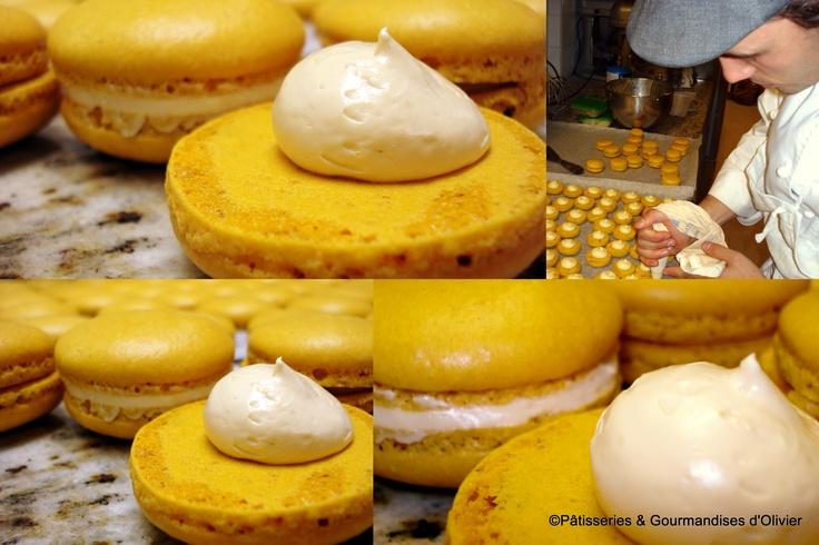 En production, macarons caramel au beurre salé !   Un régal ♥