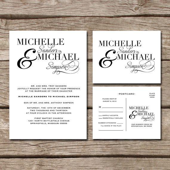 Post Card Wedding Invitations: Simple Elegant // Wedding Invitation & RSVP Postcard