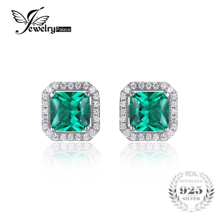JewelryPalace Square 1.4ct Created Nano Russian Emerald 925 Sterling Silver Stud Earrings Fine Jewelry for Women  New Brand