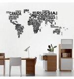 Wall sticker Harta lumii din cuvinte