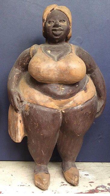 Plus size woman bbw antique folk art wood carving