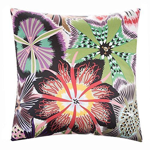 Birdfly Blooming Floral Throw Pillow Cases Shams Double Print Art Designs Flax Square Cushion Covers Decorative Pillowcase Home Office Living Room Bed Sofa Car Decoration (B)