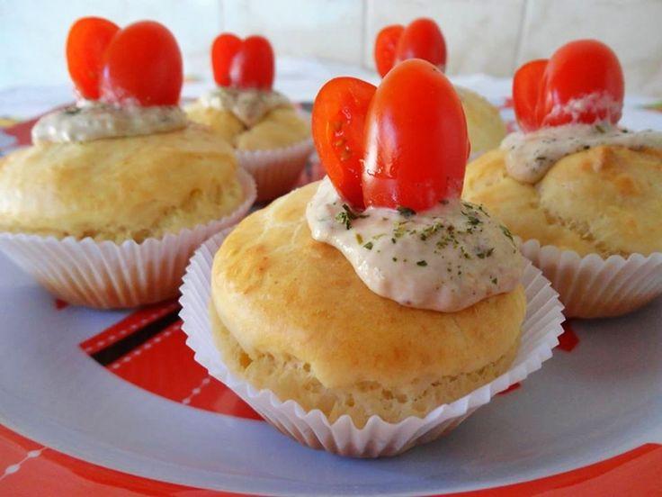 Cupcake salgado com patê de atum | Receitas Brasileiras e Portuguesas