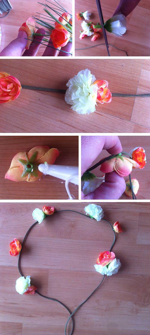 C mo hacer coronas de flores http manualidades - Como hacer diademas ...