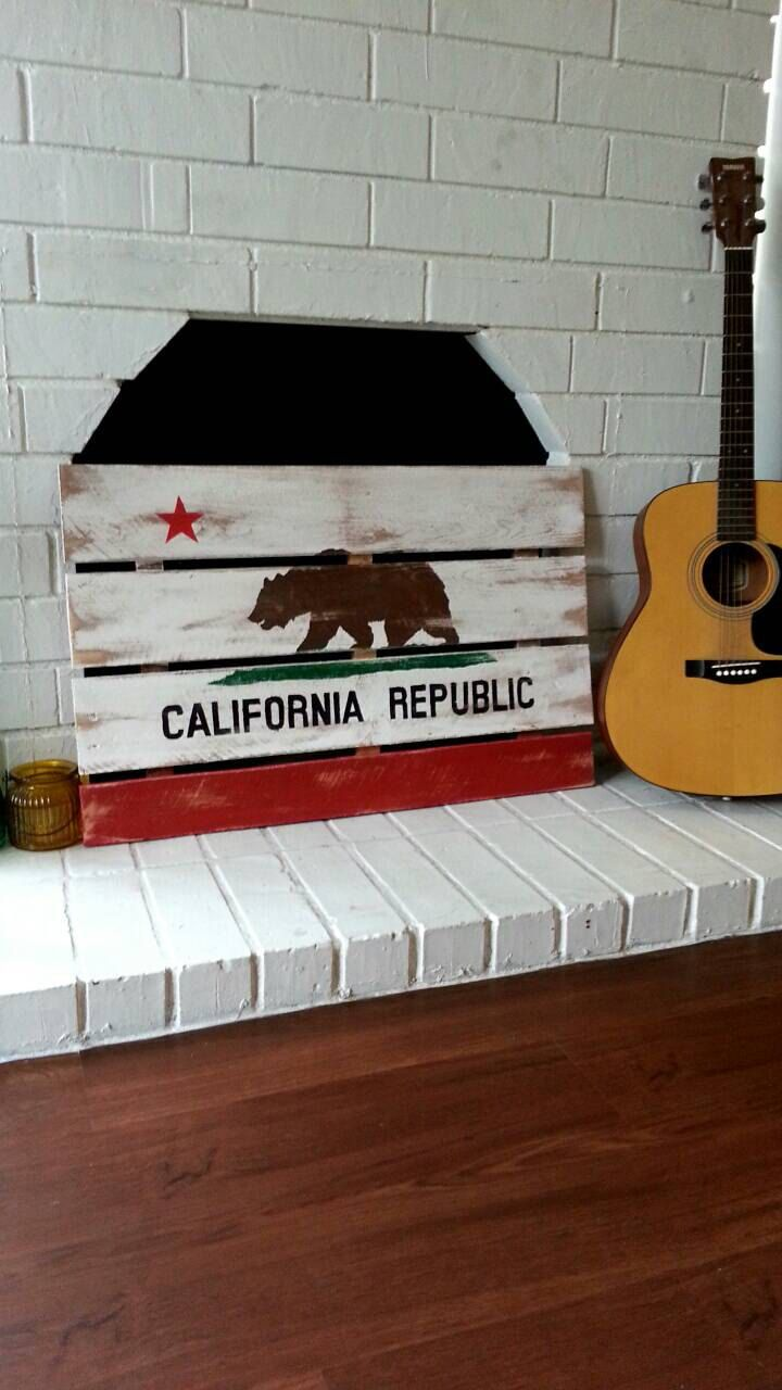 California flag, rustic, wood sign, beach decor, home and living, wall art, summer by standardwoodco on Etsy