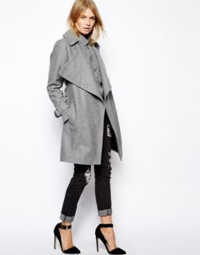 Image 4 ofASOS Coat with Waterfall Drape Front in Wool